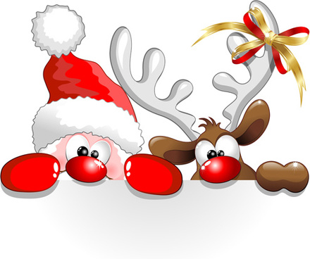 Winter-christmas-santa-claus-reindeer-clipart-free-vector-download