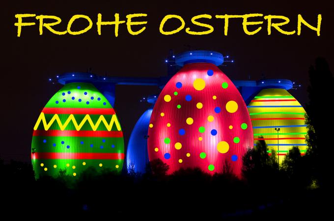 Ostereier, Ostern, Osterwunsch, Emscher Klärwerk, Emscher Kläranlage